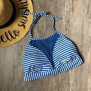 Bikini Top High Neck Striped Blue White Stripes